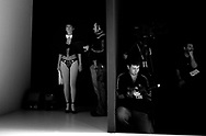 A model waits for his time at backstage during a fashion show of a creation from Lingerie collection of Turkish fashion brand Suwen during the Istanbul Fashion Week in Istanbul, Turkey on 03 February 2010. The first of the fashion days was realized on August 2009 and was called Istanbul Fashion Days,  where 25.000 visitors visited the event in three days. Fashion Week held as a part of the 2010 Cultural Capital events.