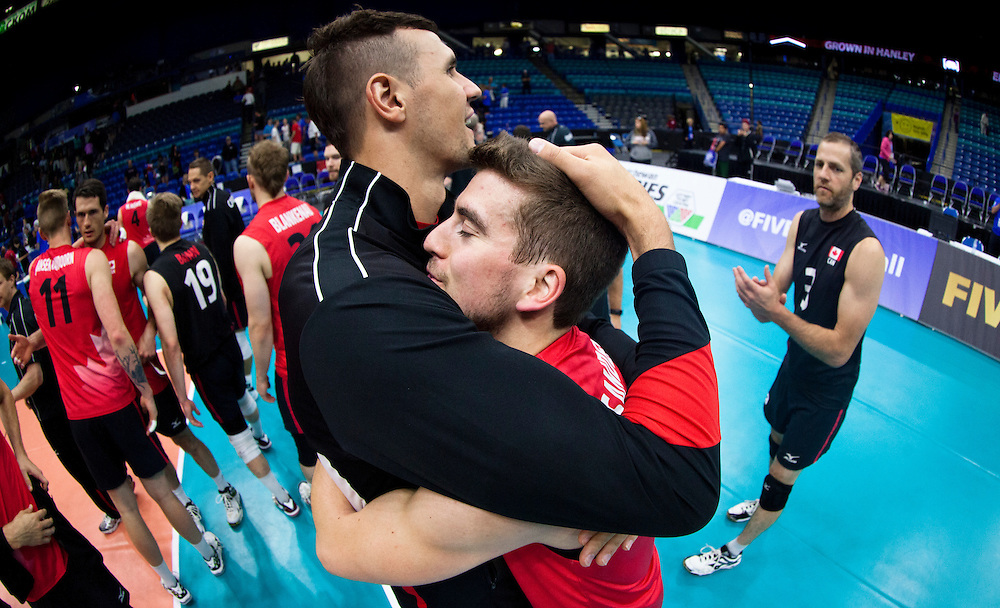 Canada celebrates a win versus Portugal following a World League Volleyball match at the Sasktel Centre in Saskatoon, Saskatchewan Canada on June 26, 2016.