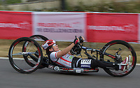 LONDON UK 29TH JULY 2016:  Liz McTernan (GBR). Prudential RideLondon Elite Handcycle Grand Prix at the London Velo Park. Prudential RideLondon in London 29th July 2016<br /> <br /> Photo: Jed Leicester/Silverhub for Prudential RideLondon<br /> <br /> Prudential RideLondon is the world&rsquo;s greatest festival of cycling, involving 95,000+ cyclists &ndash; from Olympic champions to a free family fun ride - riding in events over closed roads in London and Surrey over the weekend of 29th to 31st July 2016. <br /> <br /> See www.PrudentialRideLondon.co.uk for more.<br /> <br /> For further information: media@londonmarathonevents.co.uk