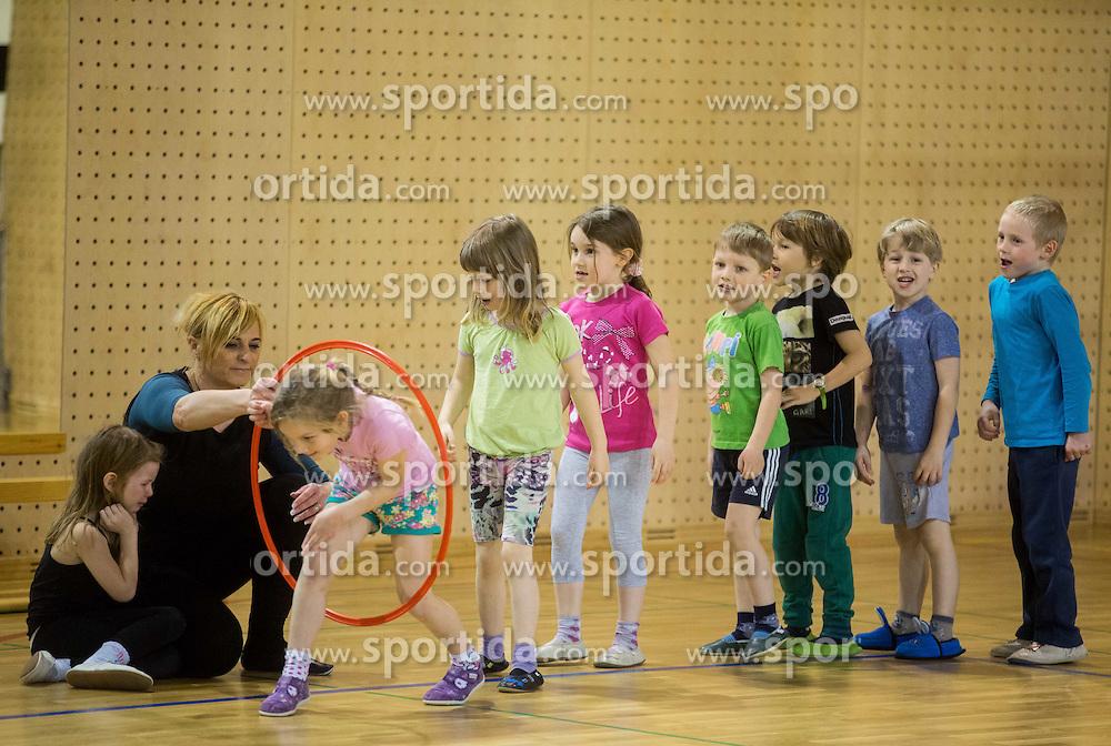 Telovadne urice skupine Metulji iz vrtca Rozle, on March 27, 2015 in SUS Eurofitness, Ljubljana Slovenia. Photo by Vid Ponikvar / Sportida