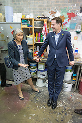 "© Licensed to London News Pictures . 03/07/2014 . Leeds , UK . The Deputy Prime Minister , NICK CLEGG MP , meeting Denise Burton (left) , daughter of Beryl Burton during a tour of the West Yorkshire Playhouse in Leeds today (Thursday 3rd July 2014) . The Liberal Democrat leader and MP for Sheffield Hallam meets cast and crew of production of Maxine Peake's "" Beryl "" based on the life of Beryl Burton , pioneering woman cyclist . Photo credit : Joel Goodman/LNP"