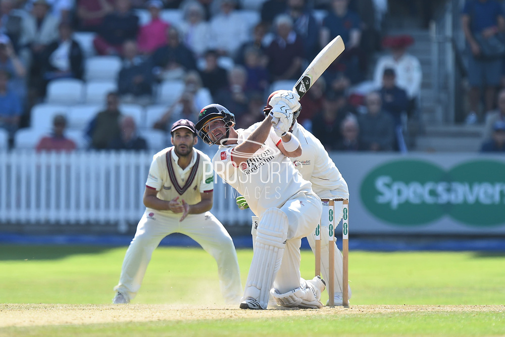 Liam Livingstone of Lancashire hits the ball over the boundary for six runs during the Specsavers County Champ Div 1 match between Somerset County Cricket Club and Lancashire County Cricket Club at the Cooper Associates County Ground, Taunton, United Kingdom on 5 September 2018.