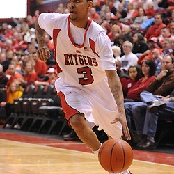 Jan 31, 2009; Piscataway, NJ, USA; Rutgers guard Mike Rosario (3) drives to the net during the second half of Rutgers' 75-56 victory over DePaul in NCAA college basketball at the Louis Brown Athletic Center