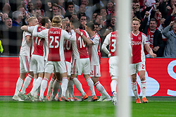 08-05-2019 NED: Semi Final Champions League AFC Ajax - Tottenham Hotspur, Amsterdam<br /> After a dramatic ending, Ajax has not been able to reach the final of the Champions League. In the final second Tottenham Hotspur scored 3-2 / Matthijs de Ligt #4 of Ajax scores the 1-0, celebrate Daley Blind #17 of Ajax, Kasper Dolberg #25 of Ajax, Frenkie de Jong #21 of Ajax, Donny van de Beek #6 of Ajax