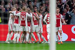 08-05-2019 NED: Semi Final Champions League AFC Ajax - Tottenham Hotspur, Amsterdam<br /> After a dramatic ending, Ajax has not been able to reach the final of the Champions League. In the final second Tottenham Hotspur scored 3-2 / Matthijs de Ligt #4 of Ajax scores the 1-0, celebrate Daley Blind #17 of Ajax, Kasper Dolberg #25 of Ajax, Frenkie de Jong #21 of Ajax, Donny van de Beek #6 of Ajax