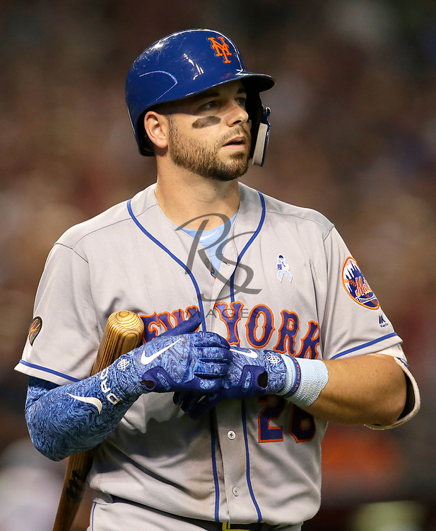New York Mets catcher Kevin Plawecki (26) in the first inning during a baseball game against the Arizona Diamondbacks, Sunday, June 17, 2018, in Phoenix. (AP Photo/Rick Scuteri)
