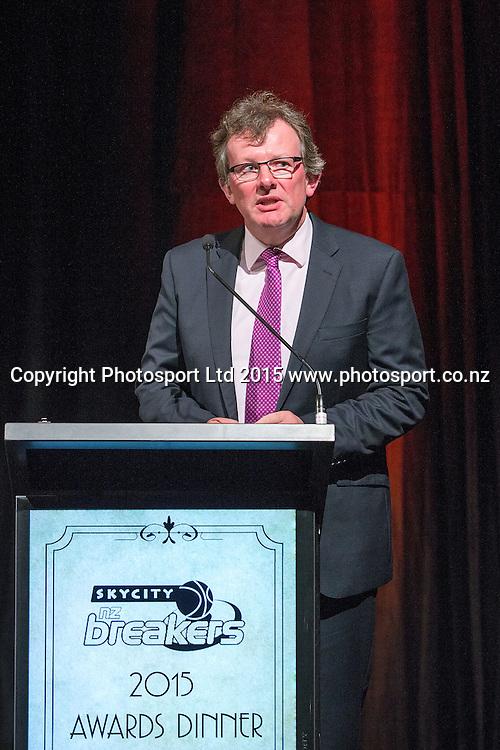 John Scott, CEO of Bartercard New Zealand speaks at the SkyCity Breakers Awards, 2014-15, SkyCity Convention Centre, Auckland, New Zealand, Friday, March 20, 2015. Copyright photo: David Rowland / www.photosport.co.nz