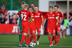 MOSCOW, RUSSIA - Tuesday, September 26, 2017: Spartak Moscow players celebrate their 2-1 victory during the UEFA Youth League Group E match between Liverpool and Spartak Moscow FC at the Spartak Academy. Nikolai Rasskazov, goalkeeper Aleksandr Maksimenko, Petr Volodkin, Daniil Petrunin, captain Leonid Mironov, Mikhail Ignatov.  (Pic by David Rawcliffe/Propaganda)