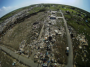 April 28, 2014 - Vilonia, Arkansas, U.S. -<br /> <br /> Killer Tornadoes Rip Through Arkansas And Oklahoma<br /> <br />  Aerial view of tornado damage in the small town of Vilonia in central Arkansas' Faulkner county Monday morning after a tornado tore an 80-mile path from Ferndale to El Paso Arkansas Sunday night. Tornado season has gotten off to a deadly start as tornadoes ripped through south-central United States on Monday leaving whole neighbourhoods destroyed and at least 17 people killed in Arkansas. It's the year's worst tornado outbreak so far, with meteorologists listing 31 tornado reports on Sunday alone. <br /> ©Exclusivepix