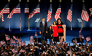 Presidential Candidate Senator Barack Obama, his wife Michelle and daughters Malia and Sasha on the stage on Hutchinson Field in Grant Park in Chicago, after the Senator being elected the next President of the United States