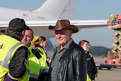 Jose Happaert visiting the departure of the horses to Lexington at Liege Airport<br /> Alltech FEI World Equestrian Games - Kentucky 2010<br /> © Dirk Caremans