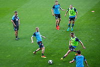 ALKMAAR - 24-08-2016, training AZ, AFAS Stadion, Dennis Haar, AZ speler Rens van Eijden, AZ speler Wout Weghorst, AZ speler Markus Henriksen, AZ speler Ron Vlaar