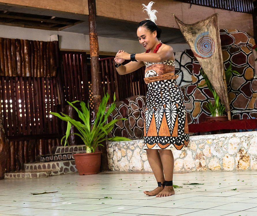 Nuku'Alofa, Tonga -- March 10, 2018. A female dancer performs a traditional Tonganese dance in tradiional garb. Editorial Use Only.