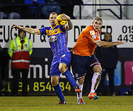 Steve McNulty of Luton Town (right) and James Collins of Shrewsbury Town during the Sky Bet League 2 match at Kenilworth Road, Luton<br /> Picture by David Horn/Focus Images Ltd +44 7545 970036<br /> 08/01/2015