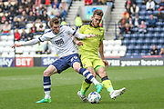 Preston Striker Tom Barkhuizen wins the ball during the EFL Sky Bet Championship match between Preston North End and Rotherham United at Deepdale, Preston, England on 29 April 2017. Photo by Pete Burns.