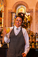 A bartender holds a freshly made margarita, El Pinto Restaurant and Cantina, Albuquerque, New Mexico USA