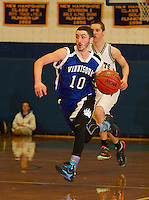 Tucker Normand of Winnisquam charges down court during the boys finals of the 41st annual Holiday Basketball Tournament at Gilford High School Tuesday evening.  (Karen Bobotas/for the Laconia Daily Sun)