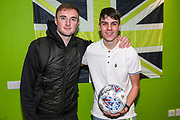 Man of the match Forest Green Rovers Carl Winchester(7) with match ball sponsors Kerry maintenance during the EFL Sky Bet League 2 match between Forest Green Rovers and Carlisle United at the New Lawn, Forest Green, United Kingdom on 28 January 2020.