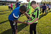 Forest Green Rovers Dan Wishart(17) signs a fans shirt during the EFL Sky Bet League 2 match between Forest Green Rovers and Grimsby Town FC at the New Lawn, Forest Green, United Kingdom on 5 May 2018. Picture by Shane Healey.