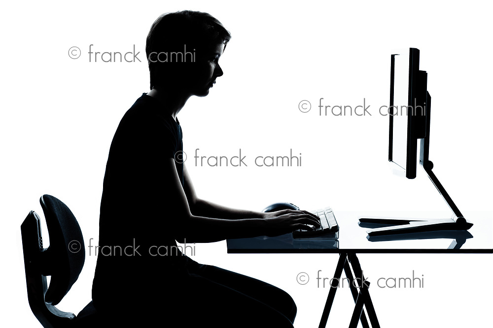 one caucasian young teenager silhouette boy or girl in studio cut out isolated on white background