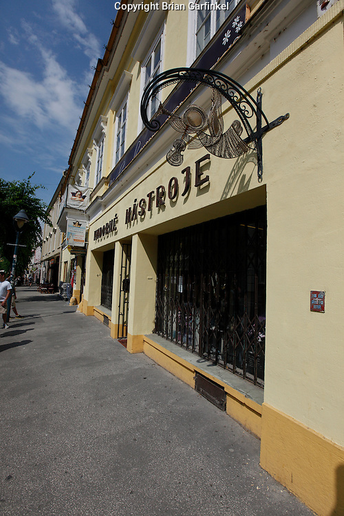 The storefront where a family furniture store used to be in Trencin, Slovakia on Friday, July 8th 2011.  (Photo by Brian Garfinkel)