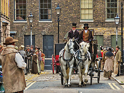 © Licensed to London News Pictures. 12/09/2017. London, UK. Extras and a horse and carriage are seen as new television series 'Vanity Fair' is filmed in Sptalfields in London. The mini series is being made for ITV and Amazon Prime and stars Tom Bateman and Michael Palin. Photo credit: Graham Long/LNP