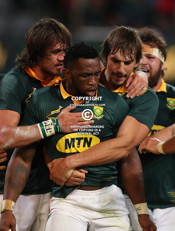 Siya Kolisi of South Africa after his try during the 2nd Castle Lager Incoming Series Test match between South Africa and France at Growthpoint Kings Park on June 17, 2017 in Durban, South Africa. (Photo by Steve Haag Sports)