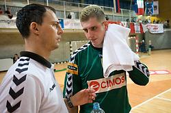 Igor Pekica and Blaz Voncina at MIK First league Handball match between RK Cimos Koper and RD Slovan, on May 9, 2009, in SRC Bonifika, Koper, Slovenia.  (Photo by Vid Ponikvar / Sportida)
