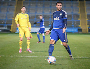 Hamza Bencherif (Halifax) sees the ball back to the keeper during the Conference Premier League match between FC Halifax Town and Guiseley at the Shay, Halifax, United Kingdom on 5 December 2015. Photo by Mark P Doherty.