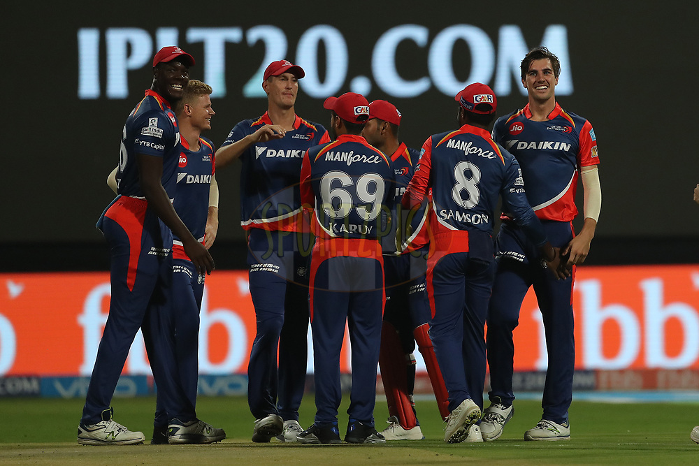 Pat Cummins of the Delhi Daredevils celebrates the wicket of Mandeep Singh of the Royal Challengers Bangalore during match 5 of the Vivo 2017 Indian Premier League between the Royal Challengers Bangalore and the Delhi Daredevils held at the M.Chinnaswamy Stadium in Bangalore, India on the 8th April 2017<br /> <br /> Photo by Ron Gaunt - IPL - Sportzpics