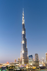 Evening view of Burj Khalifa skyscraper in Dubai United Arab Emirates
