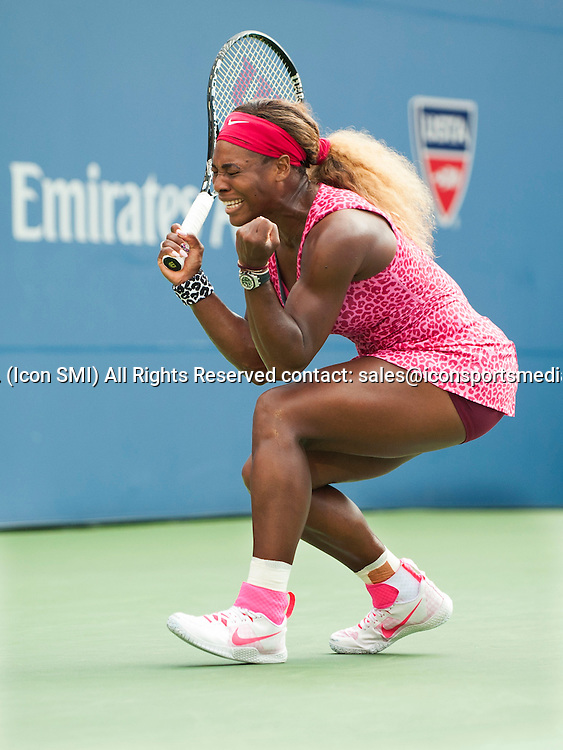 September 05; Serena Williams reacts after winning her semi-final match at the US Open Billie Jean King National  Tennis Center, Flushing Meadow, NY.