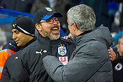 Manchester United Manager Jose Mourinho greets Huddersfield Town Head Coach David Wagner before kick off during the The FA Cup match between Huddersfield Town and Manchester United at the John Smiths Stadium, Huddersfield, England on 17 February 2018. Picture by Craig Zadoroznyj.