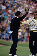 880720/ ROYAL LYTHAM ST. ANNES, UK/ PHOTO MARK NEWCOMBE/ THE OPEN CHAMPIONSHIP 1988<br /> <br /> SEVE BALLESTEROS being congratulated by Nick Faldo after winning IN THE FINAL ROUND
