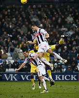 Photo: Mark Stephenson.<br />West Bromwich Albion v Southampton. Coca Cola Championship. 10/02/2007. West Brom's Neil Clement (No. 5) wins the ball
