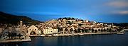 CROATIA: Dalmatian Coast. Hvar Town on Hvar Island, with the old Arsenal at left centre.