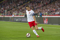 October 14, 2018 - Chorzow, Poland - Robert Lewandowski of Poland controls the ball during the UEFA Nations League A match between Poland and Italy at Silesian Stadium in Chorzow, Poland on October 14, 2018  (Credit Image: © Andrew Surma/NurPhoto via ZUMA Press)