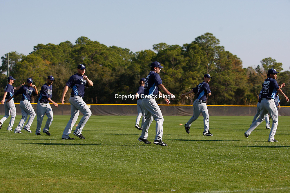 February 20, 2011; Port Charlotte, FL, USA; Tampa Bay Rays pitchers workout during spring training at Charlotte Sports Park.  Mandatory Credit: Derick E. Hingle