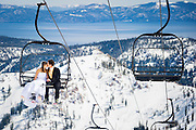 "Kara and Kent enjoying a ""Trash the dress"" post-wedding photo shoot at their favorite resort, Squaw Valley. Photo by Monique Sady"