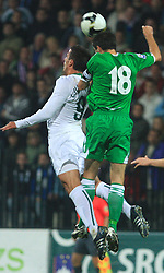 Zlatan Ljubijankic (9) and Aaron Huges at the fourth round qualification game of 2010 FIFA WORLD CUP SOUTH AFRICA in Group 3 between Slovenia and Northern Ireland at Stadion Ljudski vrt, on October 11, 2008, in Maribor, Slovenia.  (Photo by Vid Ponikvar / Sportal Images)