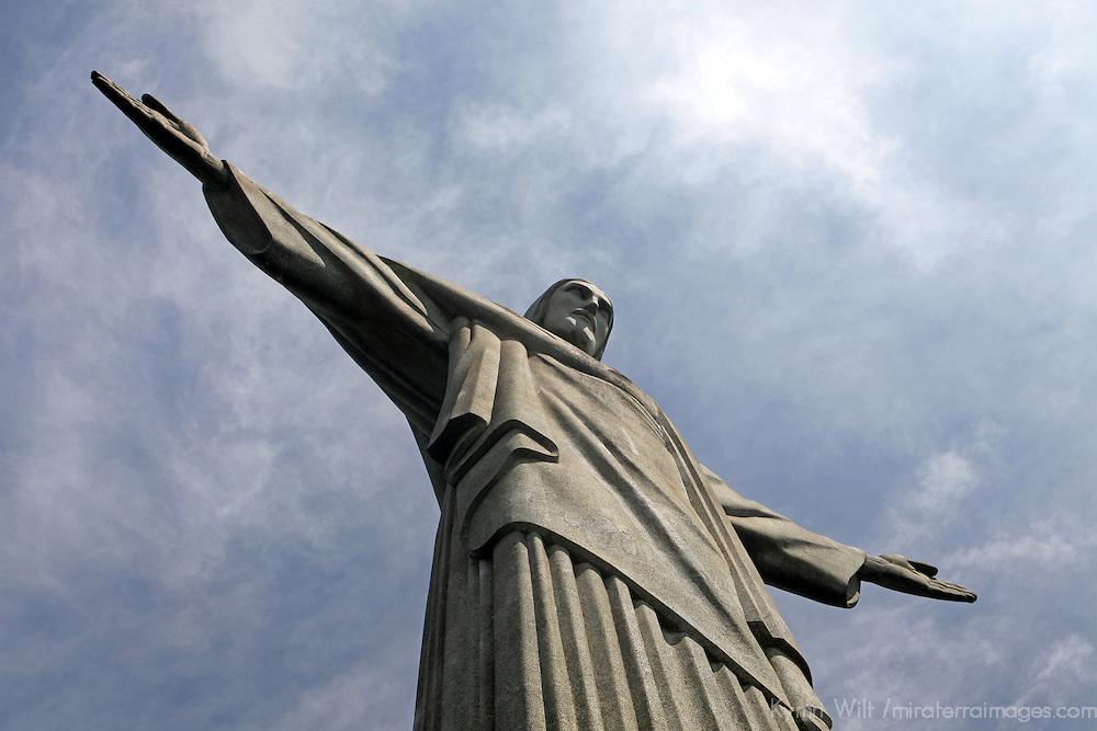 South America, Brazil, Rio de Janeiro. Christ the Redeemer landmark monument on Corcovado overlooking the city of Rio de Janeiro.