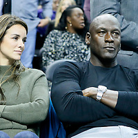 01 November 2015: Michael Jordan's wife Yvette Prieto and Michael Jordan are seen during the Atlanta Hawks 94-92 victory over the Charlotte Hornets, at the Time Warner Cable Arena, in Charlotte, North Carolina, USA.