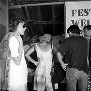 People lining up at the Festival Welfare Service, Glastonbury, Somerset, 1989