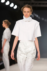 © Licensed to London News Pictures. 31/05/2014. London, England. Collection by Anna Murphy from Northumbria University Newcastle. Graduate Fashion Week 2014, Runway Show at the Old Truman Brewery in London, United Kingdom. Photo credit: Bettina Strenske/LNP