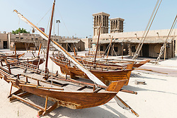Traditional wooden boats at the Diving Village outdoor Museum in Heritage area at Al Shindagha, Dubai United Arab Emirates