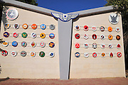 Israel, Hazirim, near Beer Sheva, Israeli Air Force museum. The national centre for Israel's aviation heritage. Emblems of the Israeli Air force units