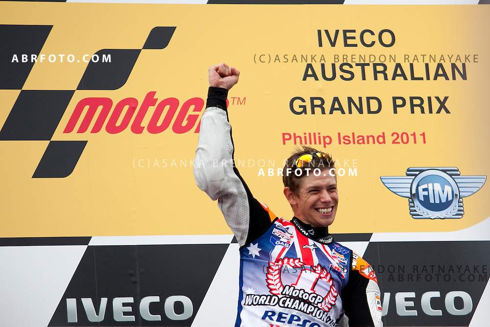 16 October 2011: Race winner & newly crowned 2011 World Champion Australian Casey Stoner celebrates in front of his home fans at the completion of the IVECO Australian MotoGP Grand Prix at the Phillip Island Circuit in Phillip Island, Victoria, Australia.