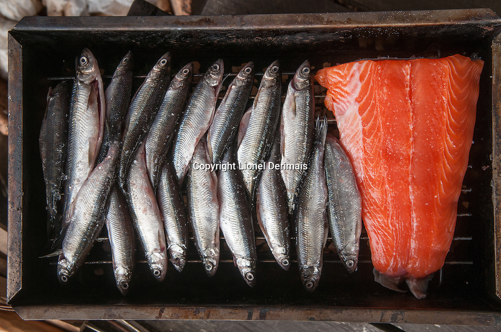 Fish on a grill.