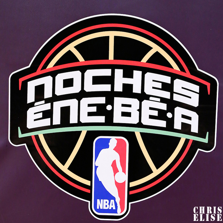 09 March 2014: Close view of the NBA Logo for Los Noches Latinas during the Los Angeles Lakers 114-110 victory over the Oklahoma City Thunder at the Staples Center, Los Angeles, California, USA.