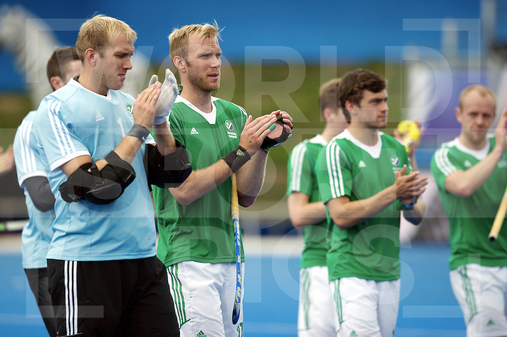 LONDON - Unibet EuroHockey Championships men.<br /> 14 NED v IRL (Semi Final Match) 1-0<br /> Foto: David Harte and his team thanks the ordians.<br /> WSP COPYRIGHT FRANK UIJLENBROEK